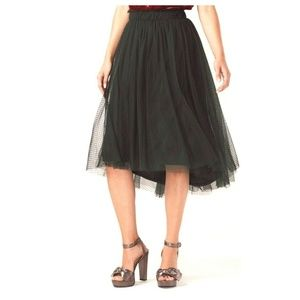 LC Lauren Conrad Womens Flocked Tulle Midi Skirt